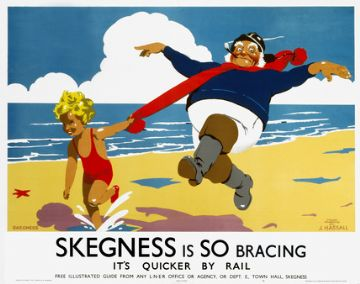 Skegness is So Bracing, It's quicker by Rail. English Railway Travel Poster Art Print.